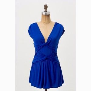 Anthropologie ric rac blue peplum top wit v neck